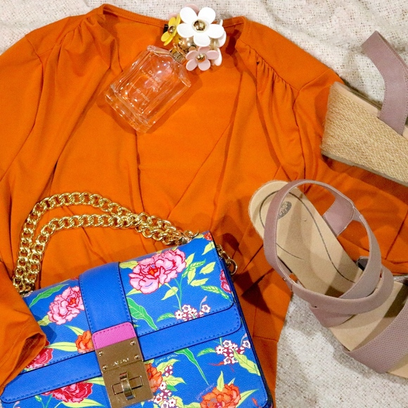 VENUS Dresses & Skirts - Venus Orange Wrap Dress